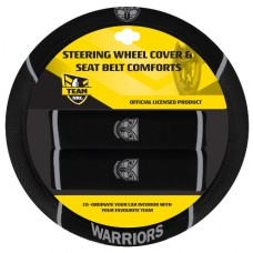 WARRIORS STEERING WHEEL COVER & SEAT BELT PADS