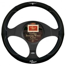 R.M.WILLIAMS STEERING WHEEL COVER BLACK / WHITE GENUINE LEATHER