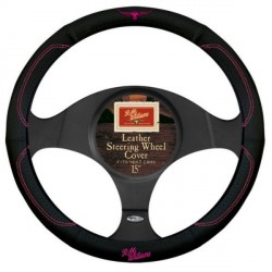 R.M.WILLIAMS STEERING WHEEL COVER BLACK / PINK GENUINE LEATHER