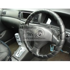 DELUXE SOFT GRIP STEERING WHEEL COVER - BLACK