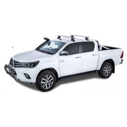 Rhino Rack - 2 Silver Vortex Bars - for Toyota Hilux 2015 on - Clamp Mount